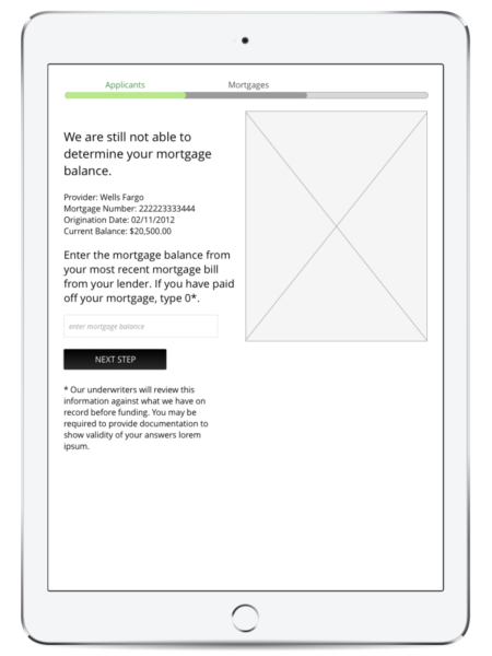 Wireframe of Renew Financial application process