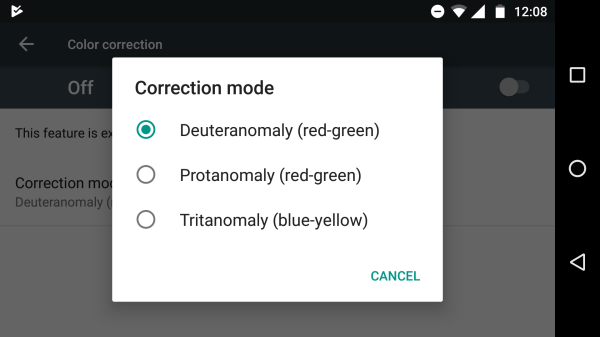 google's colorblindness tool screenshot