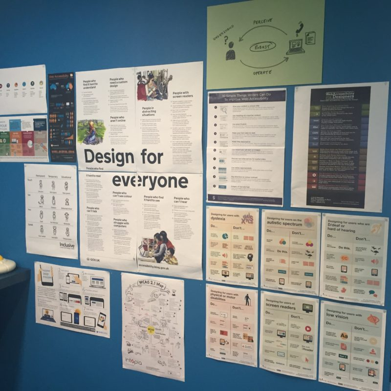 signs on the wall at the GDS empathy lab